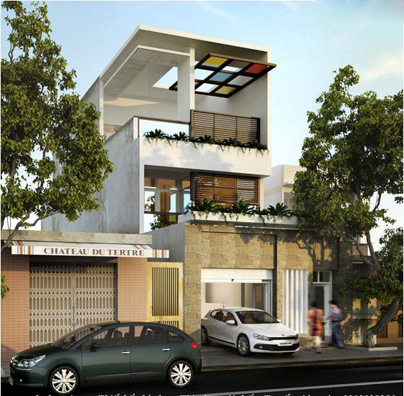 Thiết kế mặt tiền nhà phố vừa hiện đại vừa ấn tượng