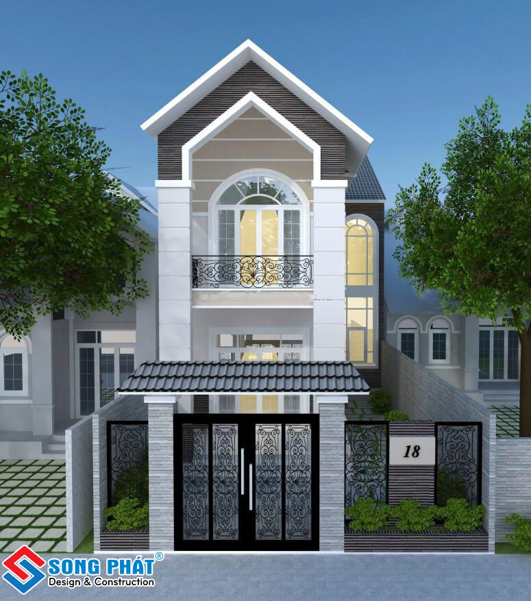 Mẫu nhà 2 tầng mang phong cách bán cổ điển.