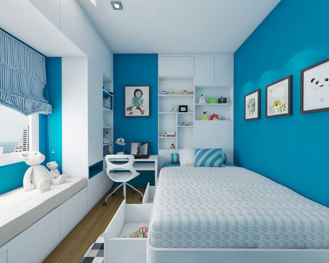 Thiết kế phòng ngủ màu xanh đơn giản cho người lớn