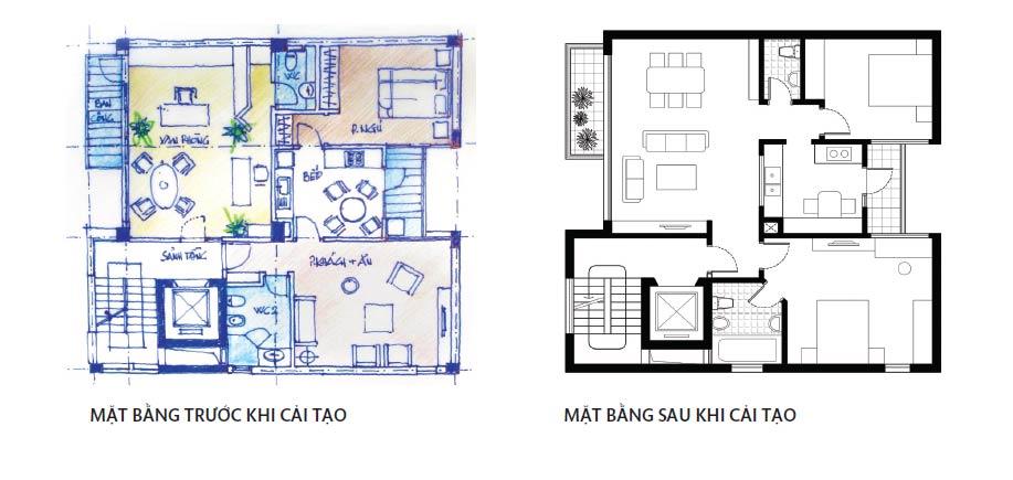 mặt bằng hoàn thiện nội thất chung cư