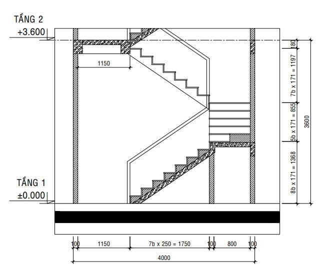 Mặt cắt cầu thang.