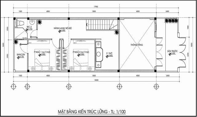 bản vẽ thiết kế nhà 1 tầng 5x20m gác lửng