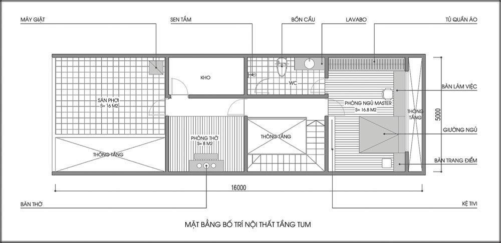 bản vẽ mb tầng tum nhà phố diện tích 80m2