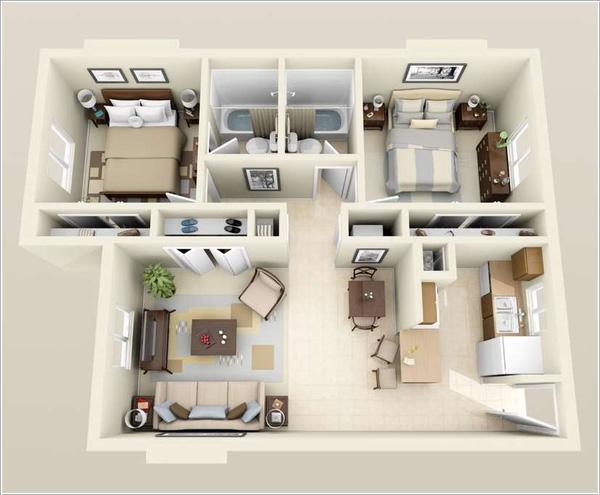 nhà ống 1 tầng giá rẻ 2 phòng ngủ