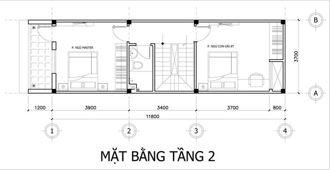 thiết kế nhà ống 3 tầng