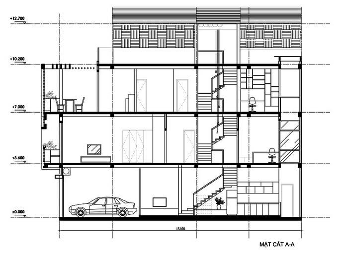 nhà ống 3 tầng 1 tum