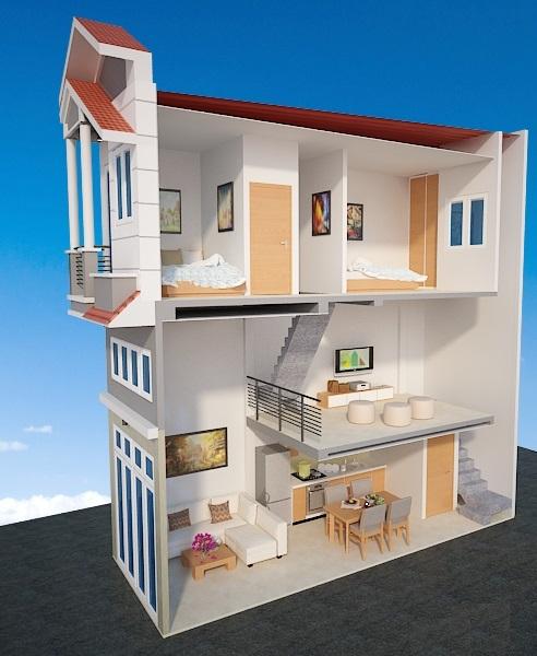 nhà phố 1 trệt 1 lửng 1 lầu