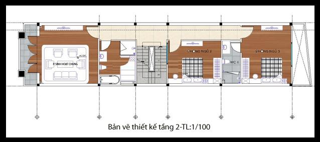 bản vẽ thi công nhà ống 2 tầng 40m2