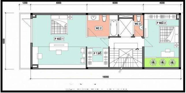 kiến trúc nhà ống 3 tầng 6x16m