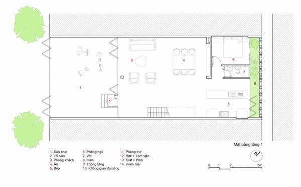 không gian nhà phố 3 tầng 8x20m