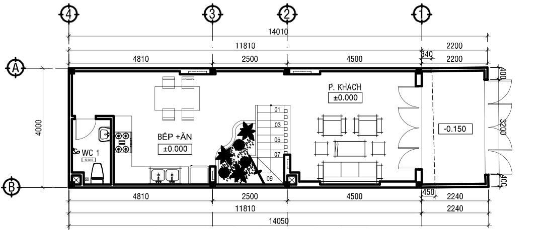 Xây dựng nhà 3 tầng 4m mặt tiền