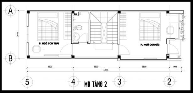 thiết kế nhà 1 trệt 2 lầu 1 tum mặt tiền 3.5m hiện đại