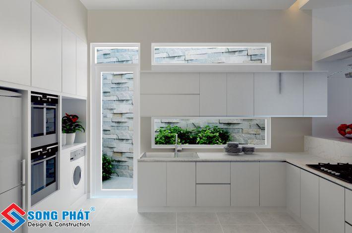 Phòng bếp nhà 8 x 18m