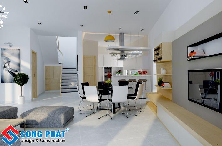 Phòng khách nhà 8 x 18m