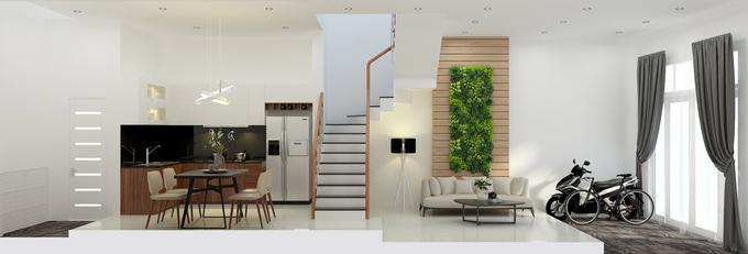 thiết kế xây nhà 2 tầng có sân thượng