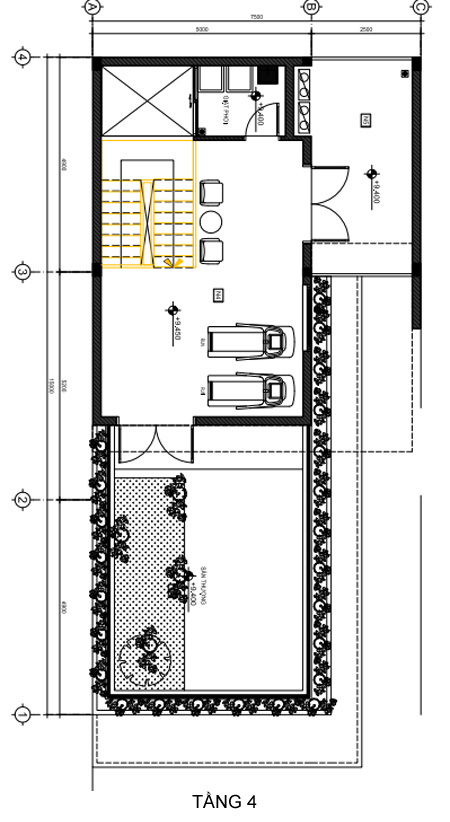 không gian nhà phố 4 tầng rộng rãi