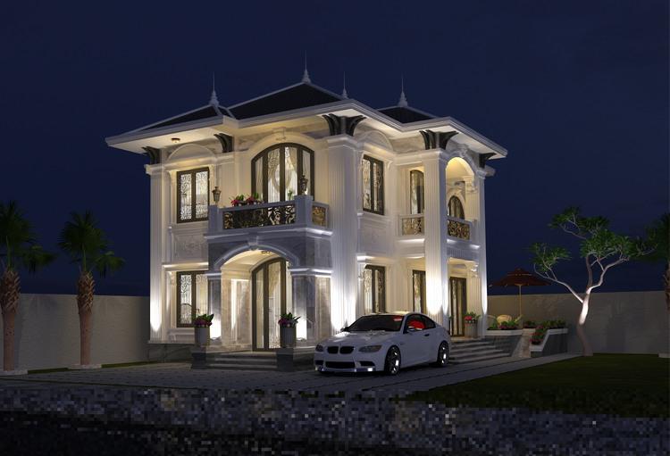 thiết kế biệt thự cổ điển 10x11m
