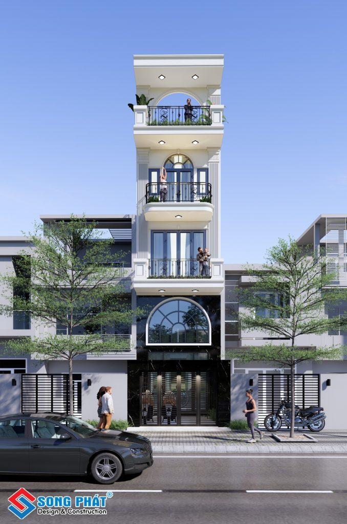 Mẫu nhà trệt lửng 2 lầu sân thượng với phong cách tân cổ điển của gia đình chị Diễm.