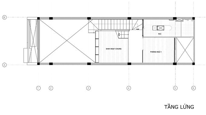 không gian nhà 2 tầng 44m2