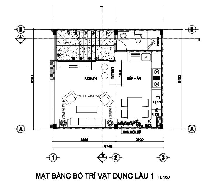 Mẫu nhà 3 tầng rộng 6m ngang 7m thiết kế hiện đại tại Tân Bình.