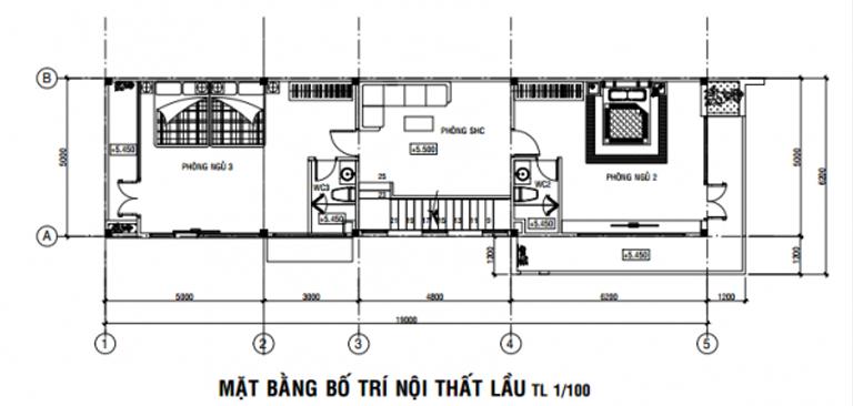 Thiết kế nhà phố 2 tầng 5 x 19m có garage ô tô.
