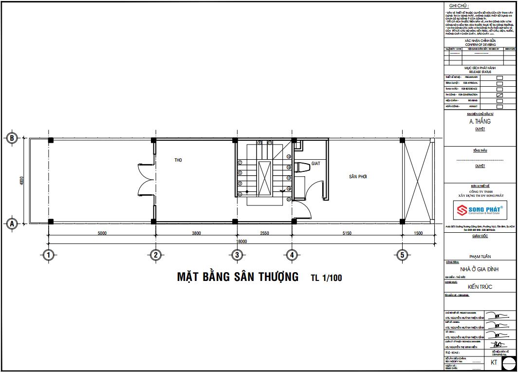 bản vẽ thiết kế nhà 3 tầng 4x18m
