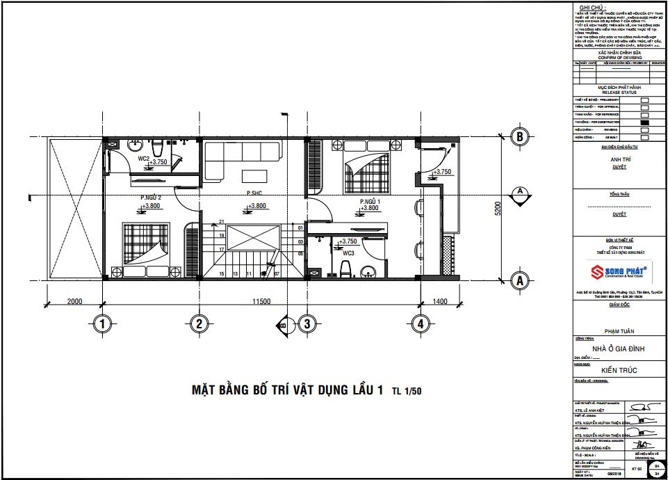 mẫu nội thất nhà 1 trệt 1 lầu sân thượng
