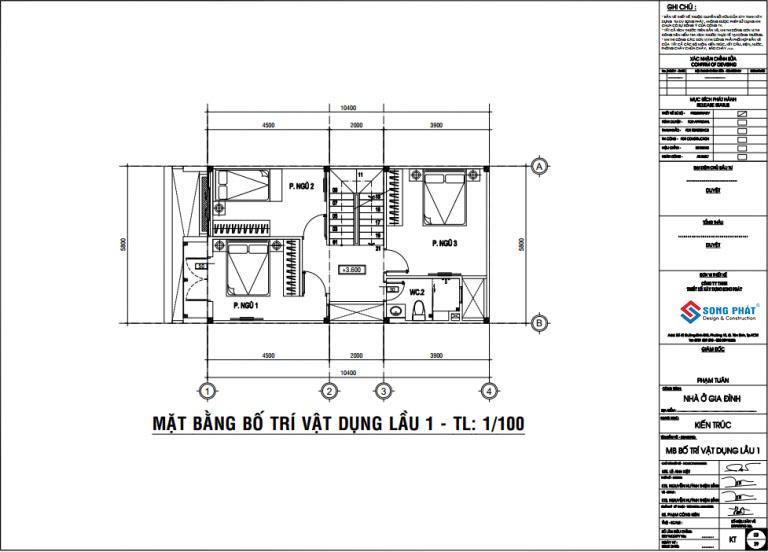 mẫu nhà ống 2 tầng sân thượng 5.8x10.4m