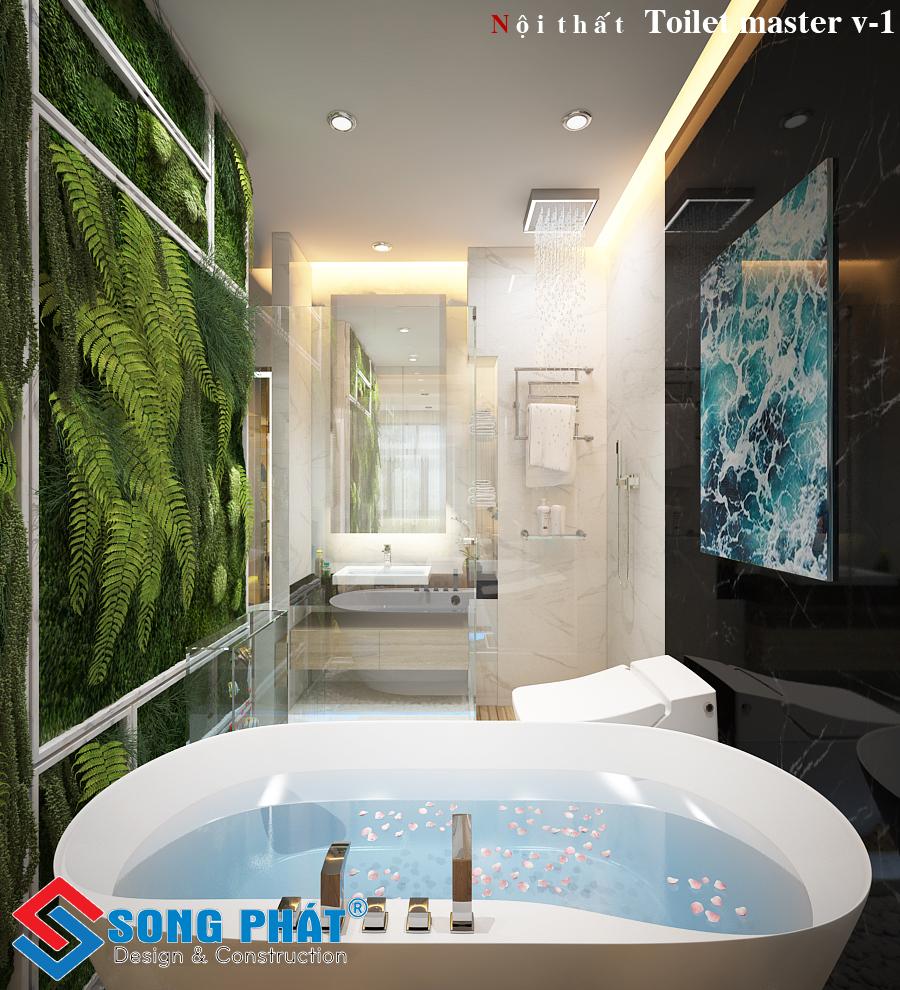 Phòng tắm đáp ứng nhu cầu sinh hoạt của gia đình.
