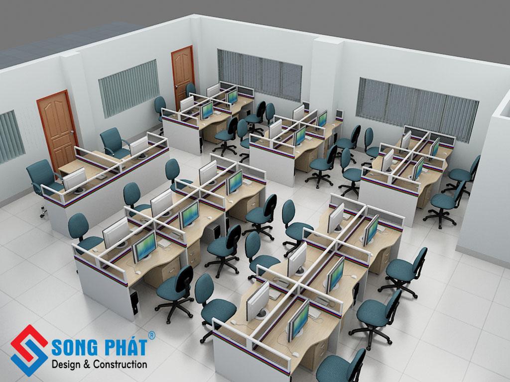 thiết kế văn phòng theo kiểu vách ngăn 2