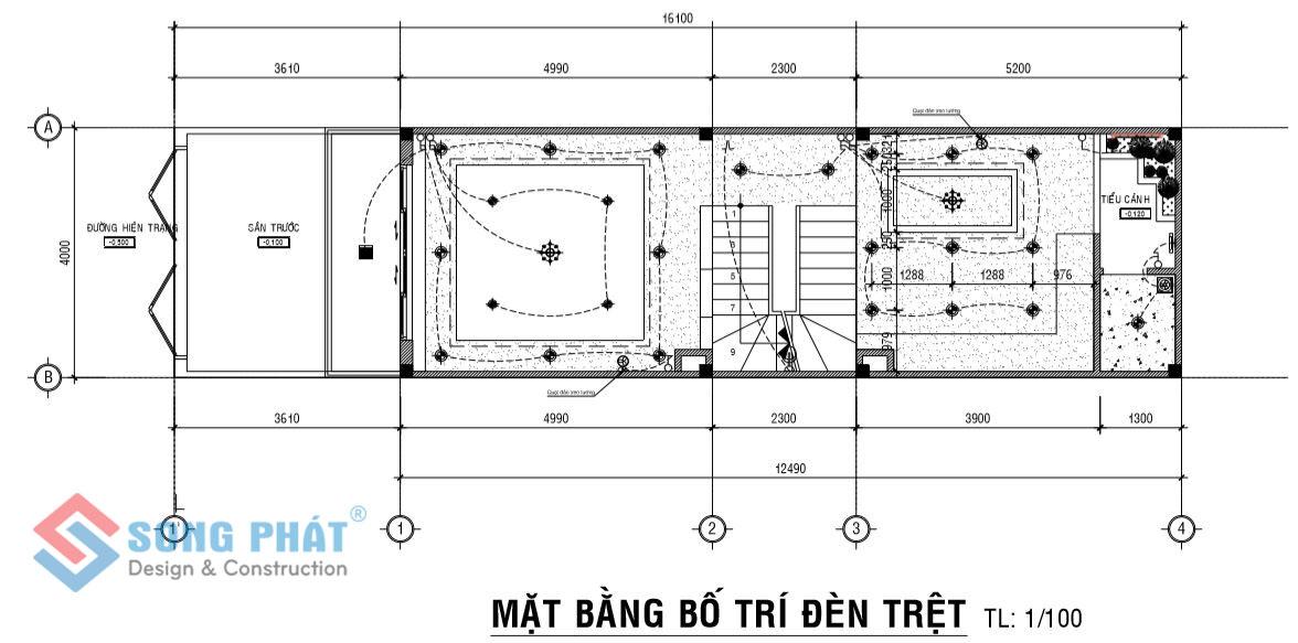 Mặt bằng bố trí đèn thiết kế nhà 4 x 12, 1 trệt 2 lầu mái thái