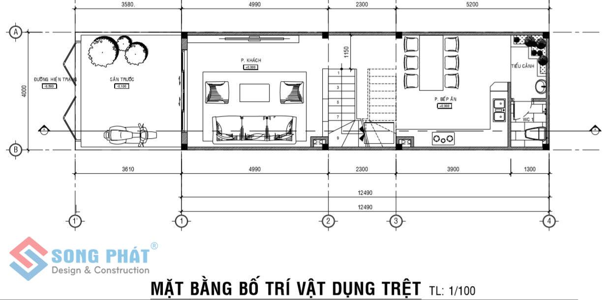 mặt bằng tầng trệt nhà 1 trệt 2 lầu mái thái