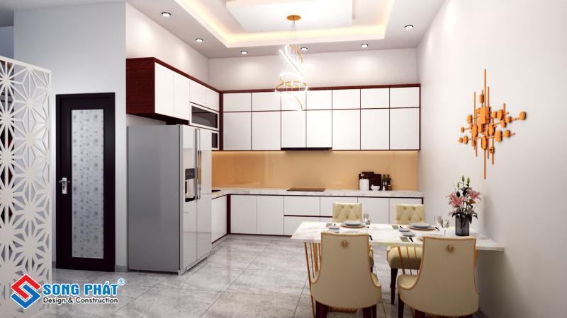 Thiết kế nội thất bếp tầng trệt nhà 1 trệt 3 lầu kết hợp quán cafe