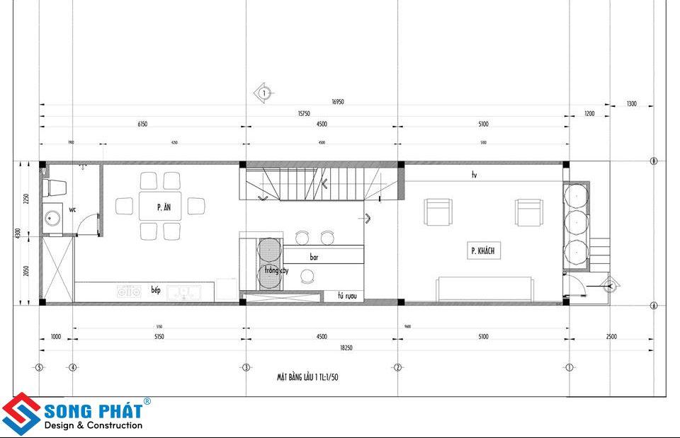 nhà 1 trệt 1 lửng 3 lầu kết hợp văn phòng