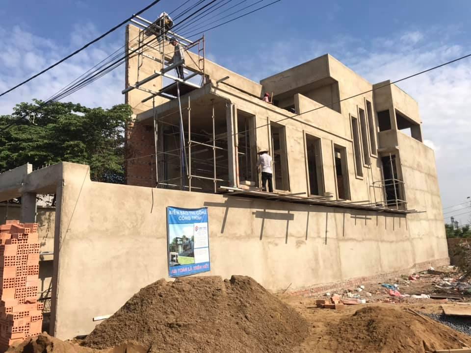 Nhà phố 1 trệt 1 lửng sân thượng sau khi hoàn thành phần thô.