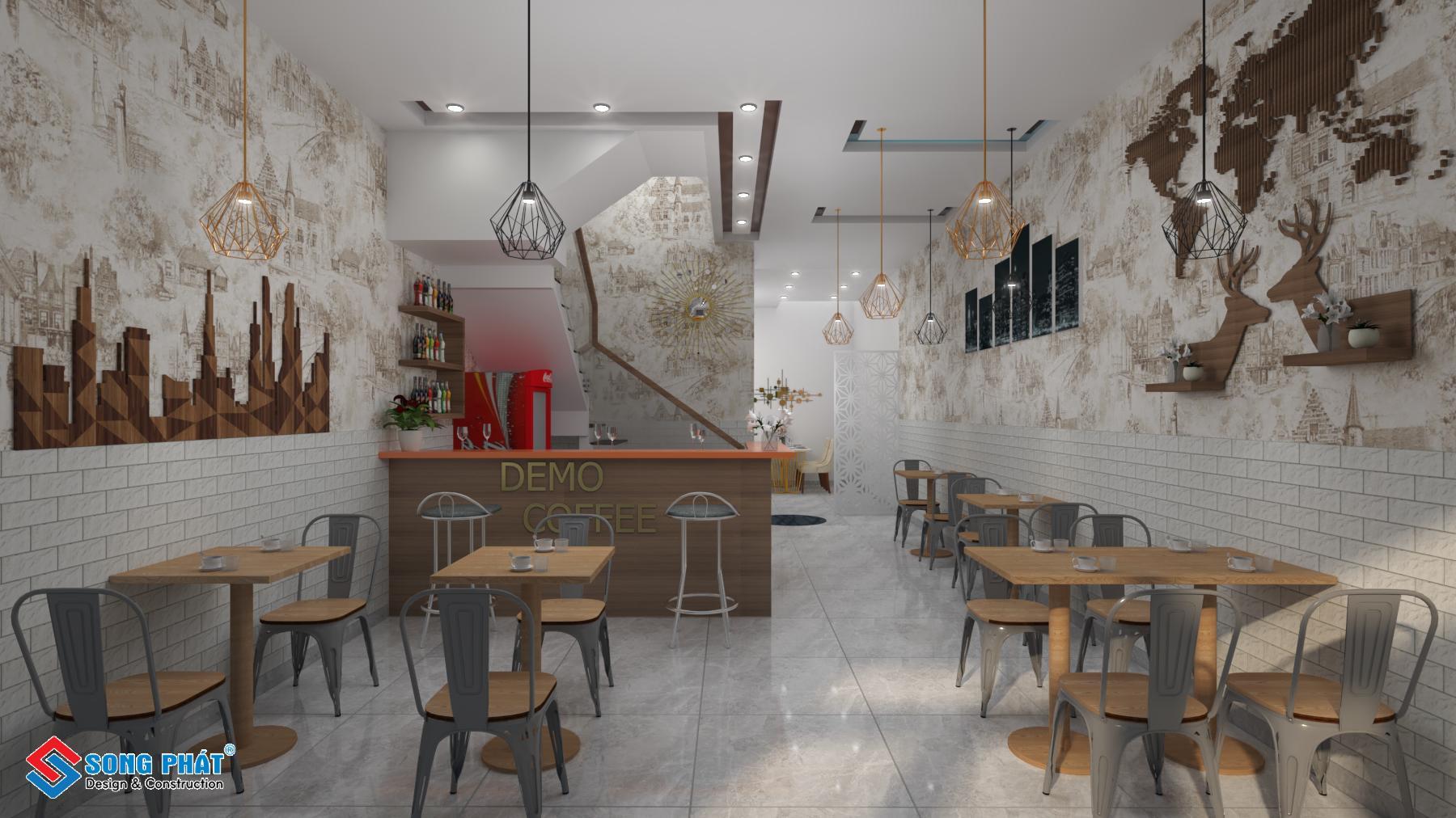 Thiết kế nội thất tầng trệt nhà 1 trệt 3 lầu kết hợp quán cafe
