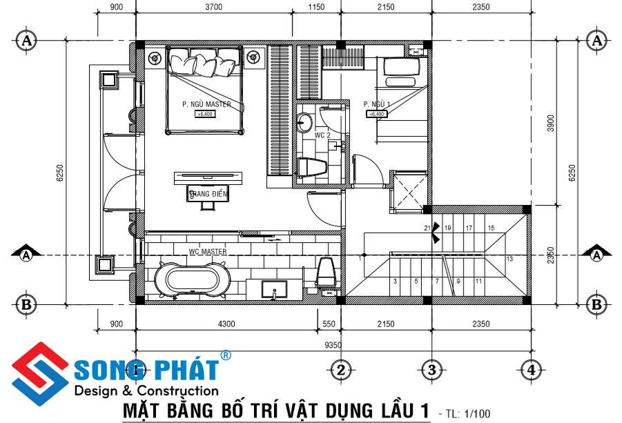 Mặt bằng lầu 1 nhà 1 trệt 1 lửng 2 lầu sân thượng tân cổ điển