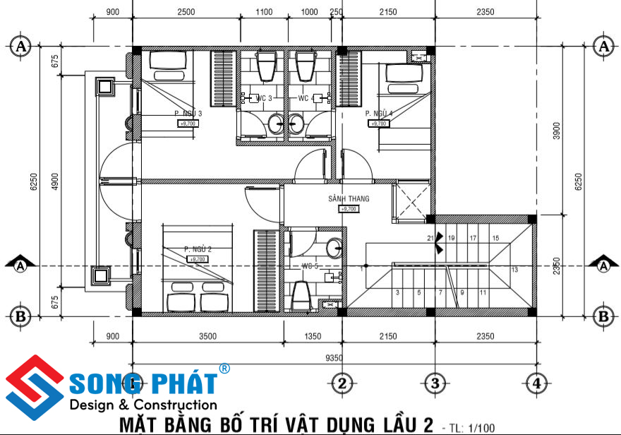 Mặt bằng lầu 2 nhà 1 trệt 1 lửng 2 lầu sân thượng tân cổ điển