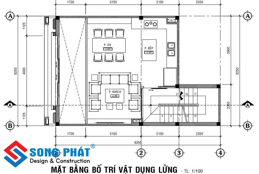 Mặt bằng lửng nhà 1 trệt 1 lửng 2 lầu sân thượng tân cổ điển