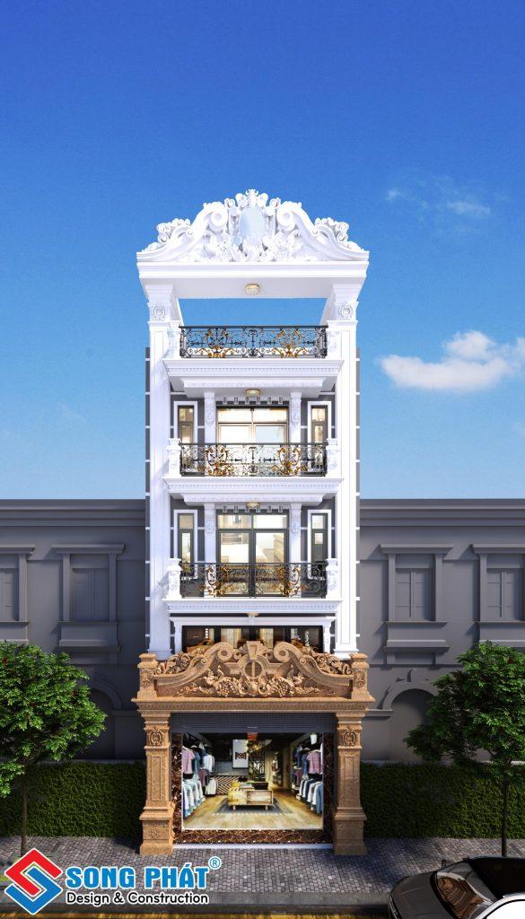 Mặt tiền nhà 1 trệt 1 lửng 2 lầu sân thượng tân cổ điển 1
