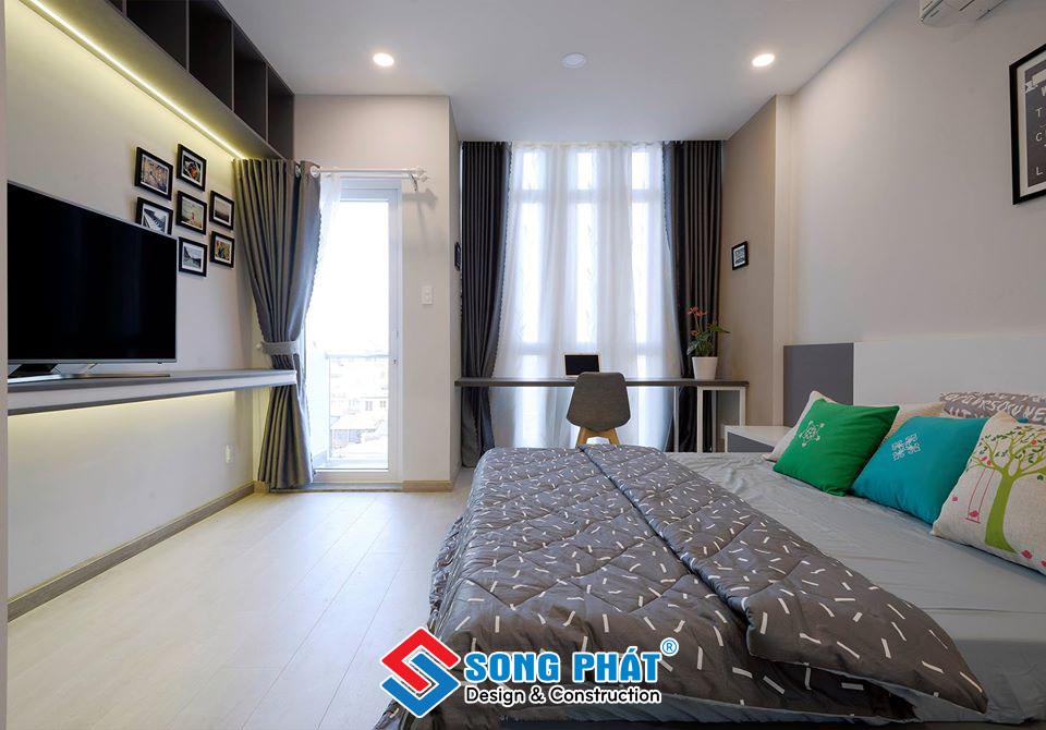 Phòng ngủ nhà phố 1 trệt 1 lửng 2 lầu hiện đại