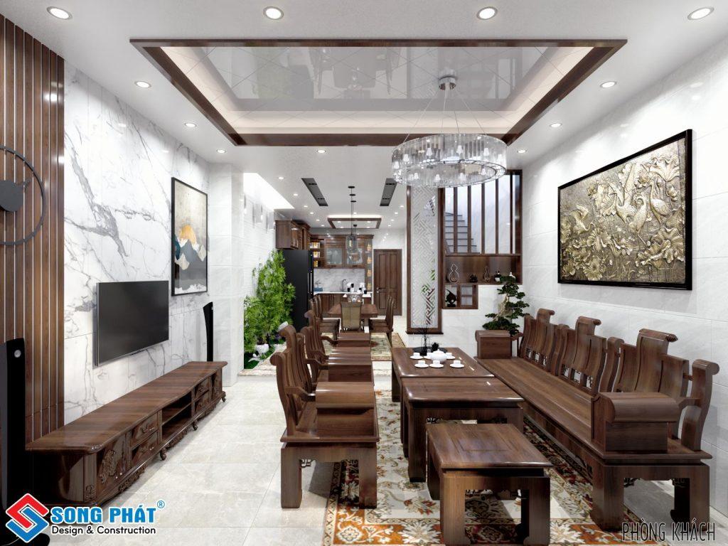 Thiết kế phòng khách với gỗ gõ đỏ.