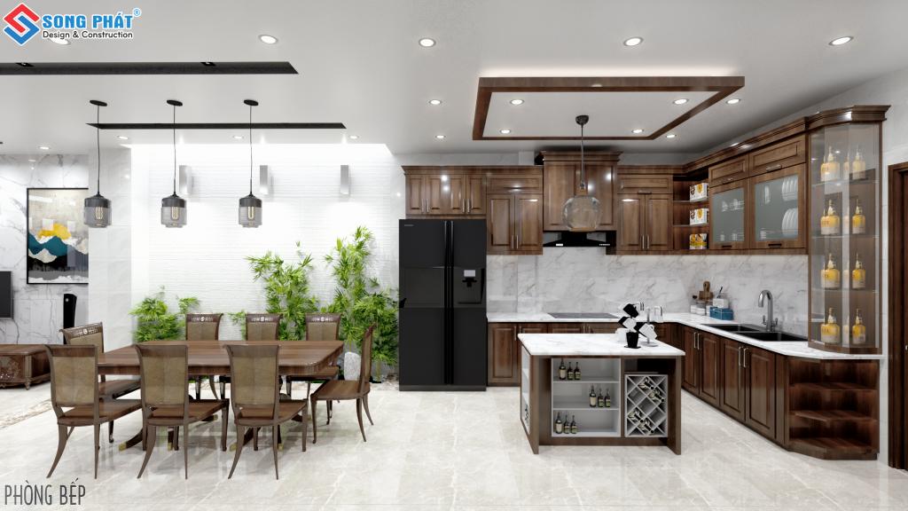 Thiết kế phòng ăn với gỗ gõ đỏ 2.