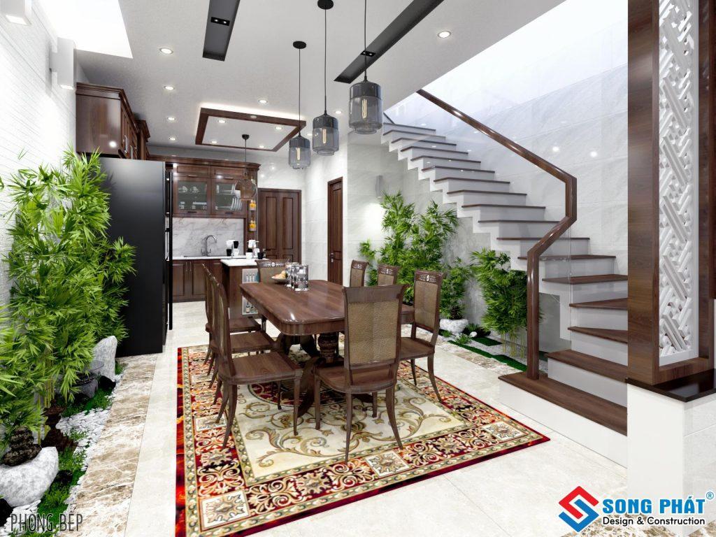 Thiết kế phòng khách với gỗ gõ đỏ 1.
