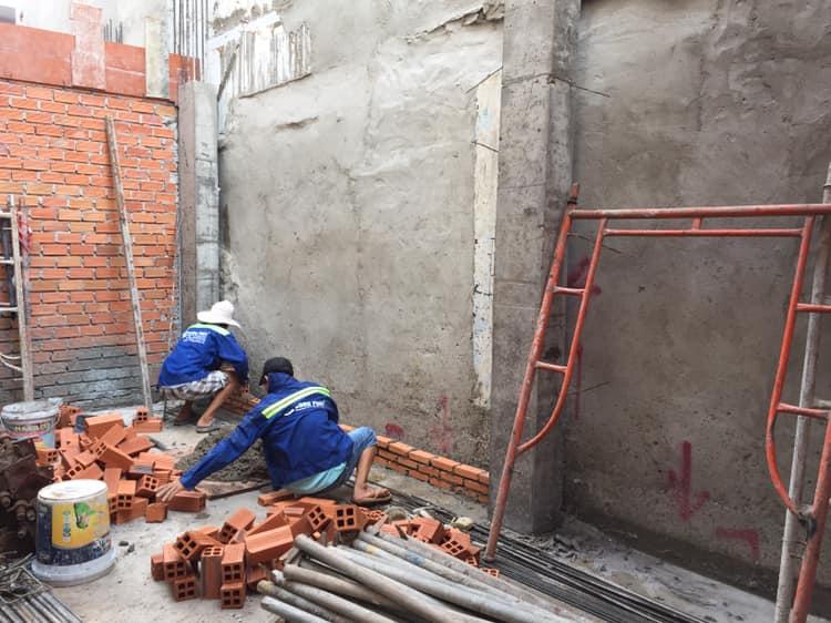 Xây tường bao nhà 1 trệt 1 lửng 2 lầu 1 tum.