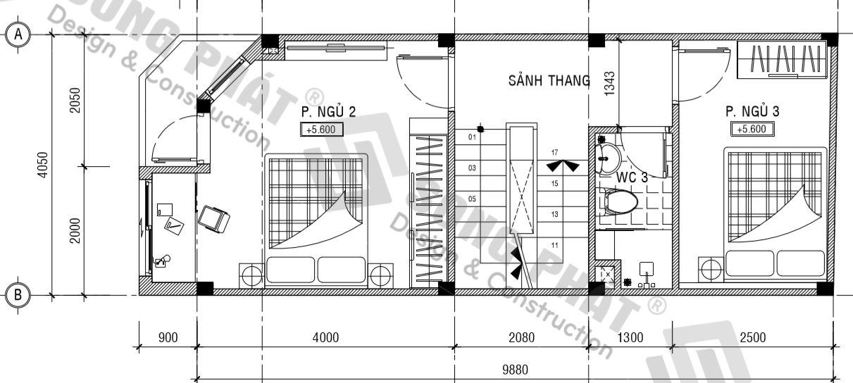 thiết kế nhà 4 x 10m tầng 1 có 2 phòng ngủ.