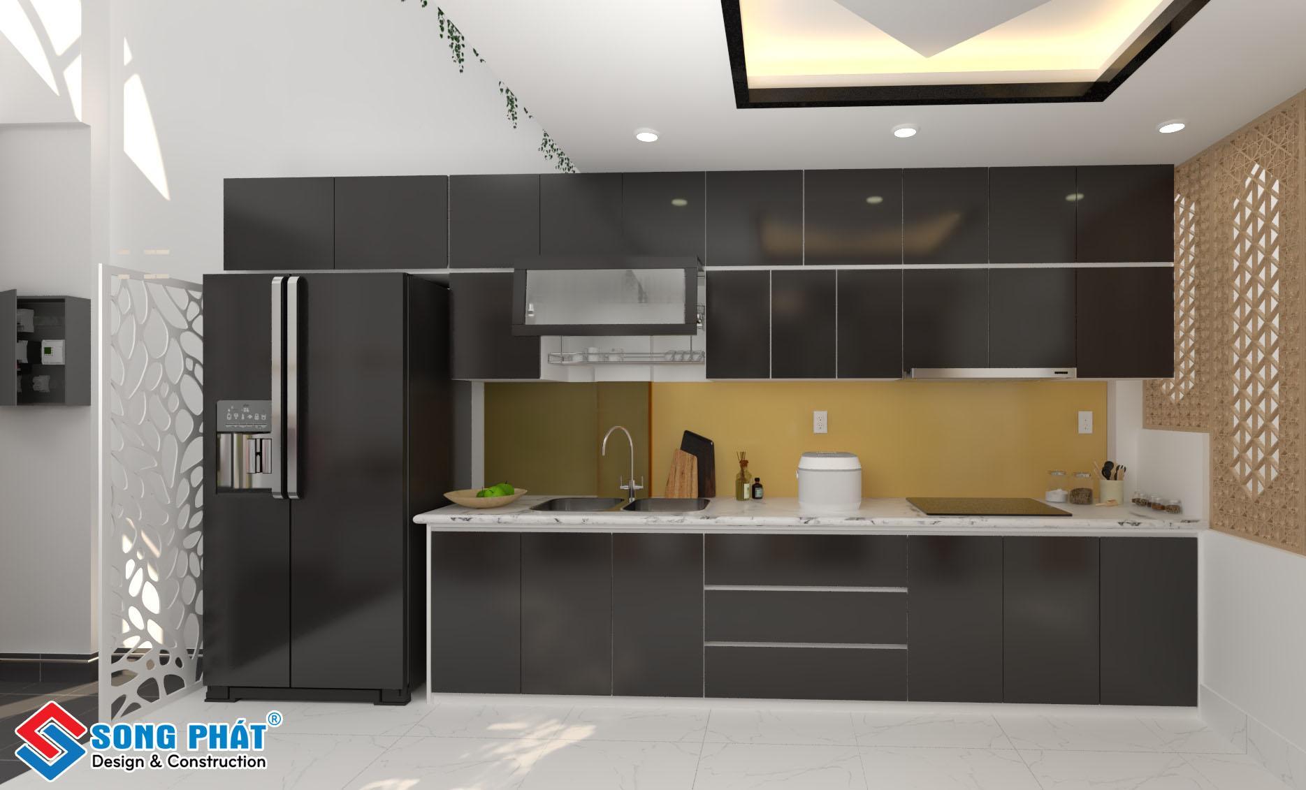 Thiết kế bếp đẹp một phía 1.