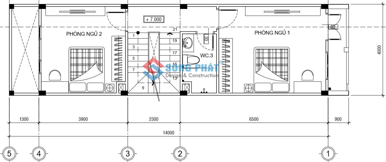 Lầu 2 với 2 phòng ngủ chung nhà vệ sinh.