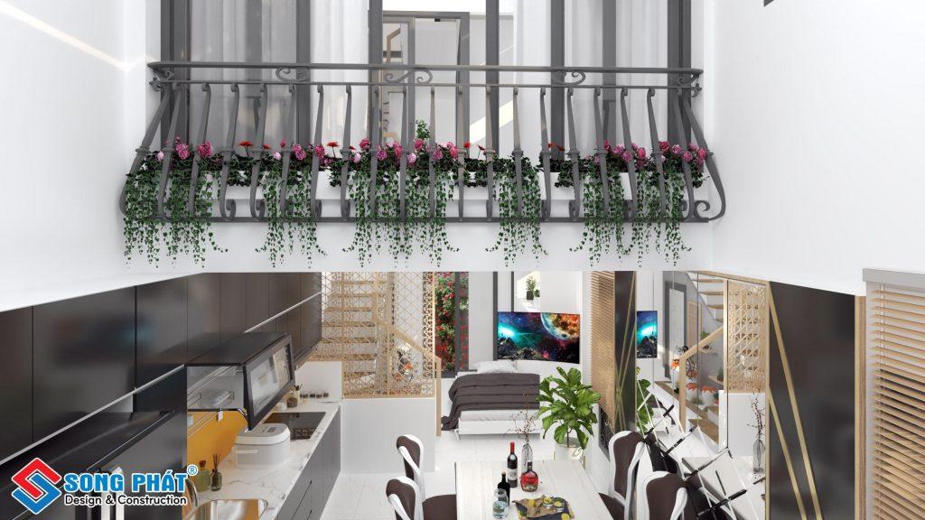 phối cảnh nội thất trệt nhà lô góc hai mặt tiền 4 tầng sân thượng