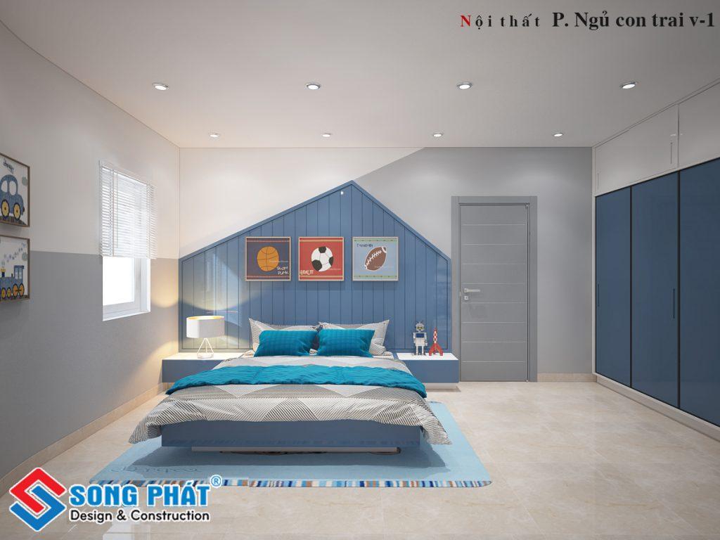 Nội thất phòng ngủ màu xanh 16m2.